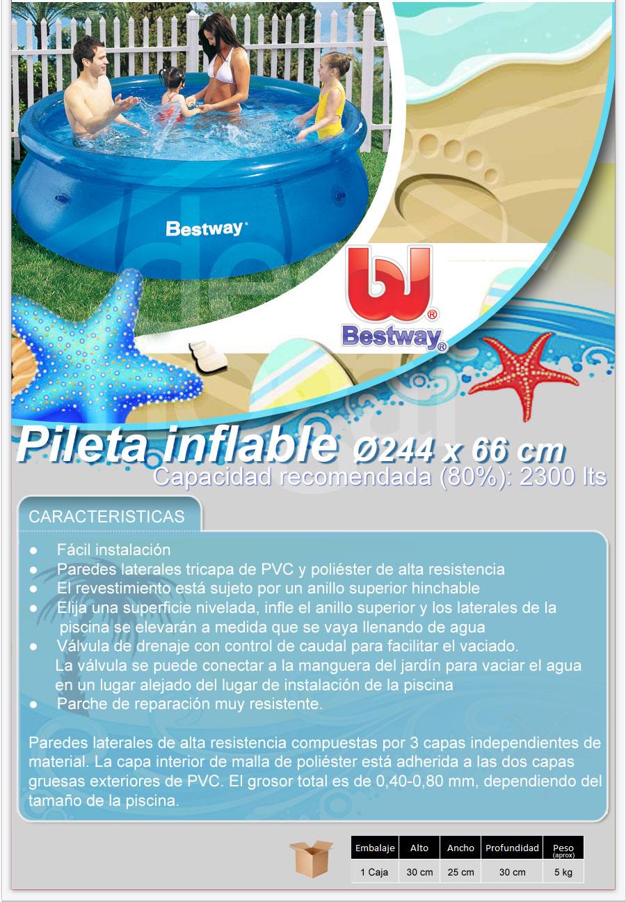 Pileta inflable bestway de 244x66 cm 2300 lts fast set for Piletas bestway precios