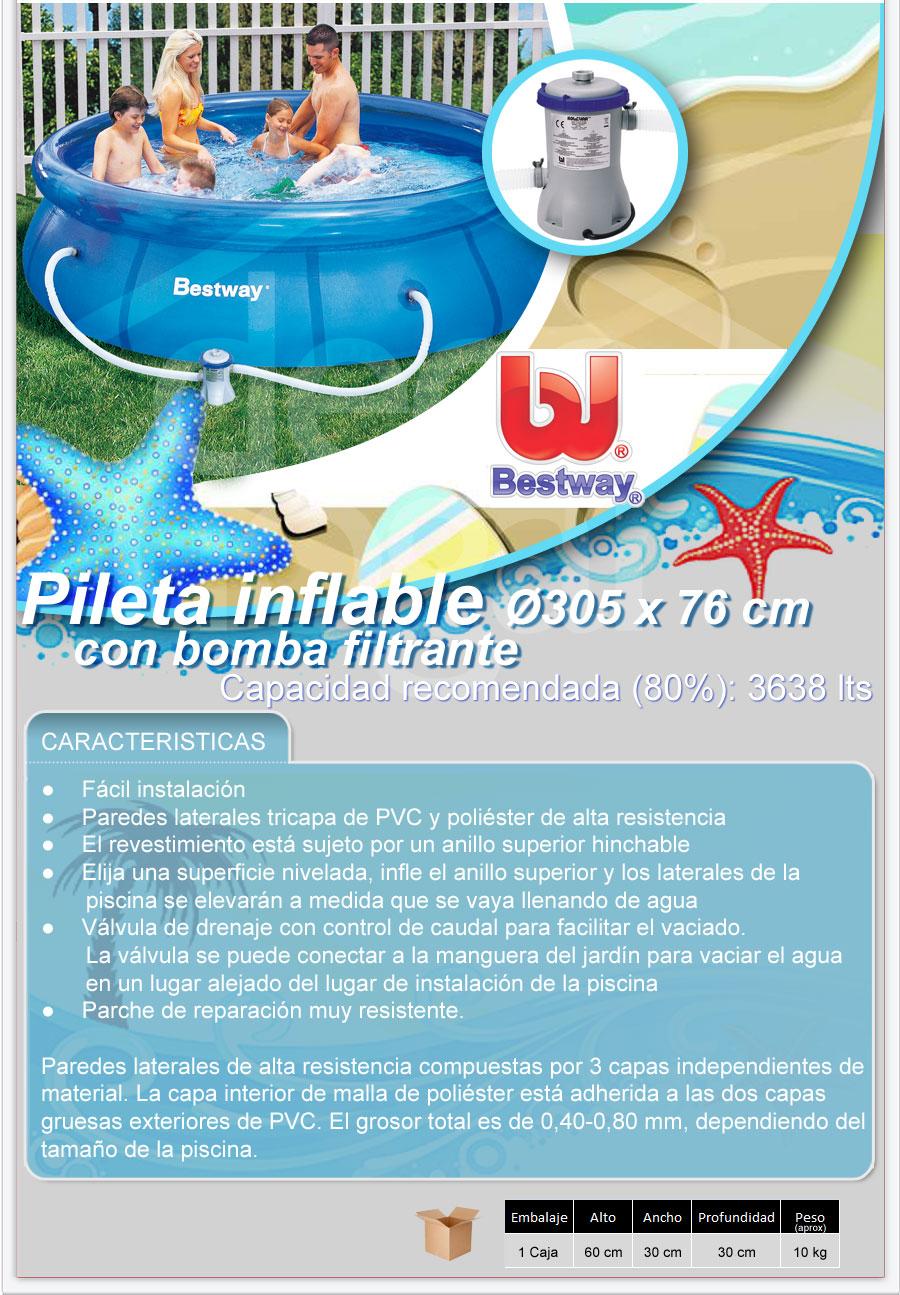 Pileta inflable bestway con bomba 305x76 cm 3600 lts57109 for Piletas bestway precios