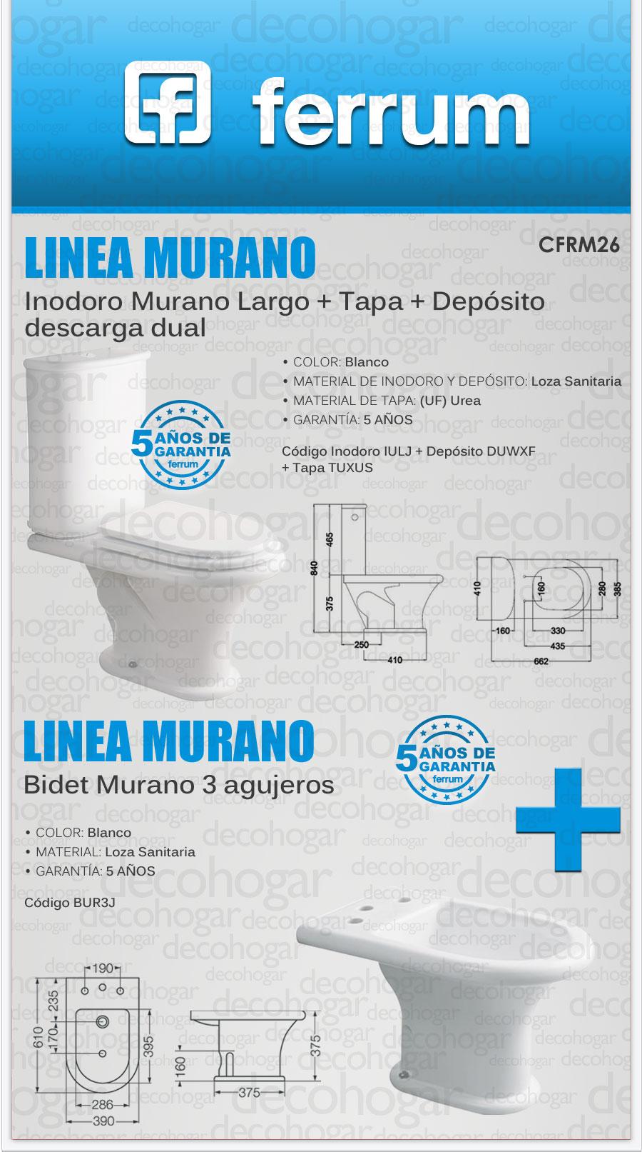 Juego Baño Ferrum Murano Inodoro Largo Con Tapa Bidet 3 Ag ...