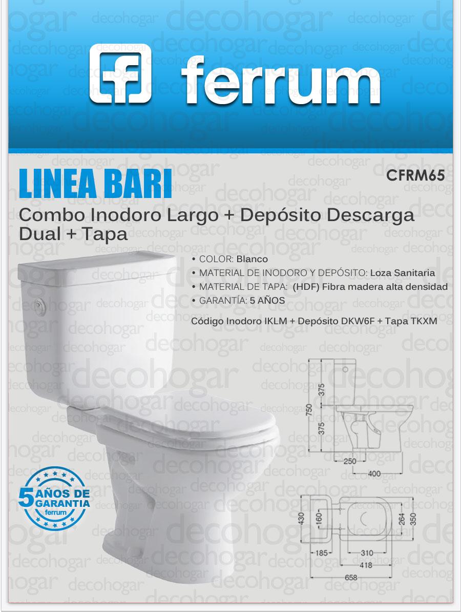Inodoro largo ferrum bari con deposito descarga dual y for Precio de inodoro ferrum