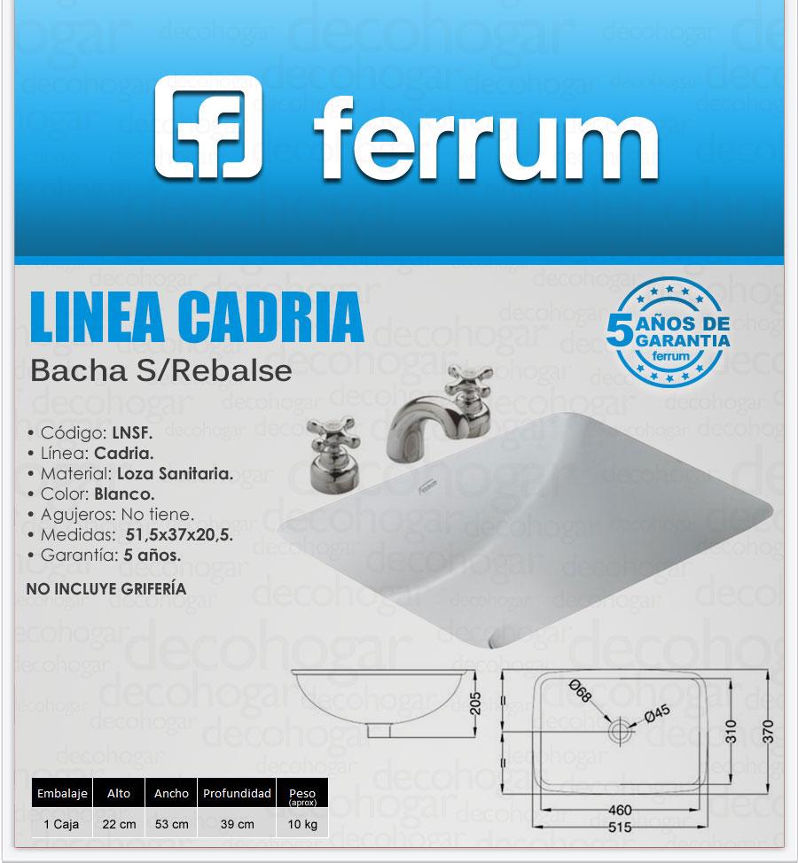 Ferrum cadria lavatorio bacha s rebalse loza ba o lnsf for Bachas de bano ferrum