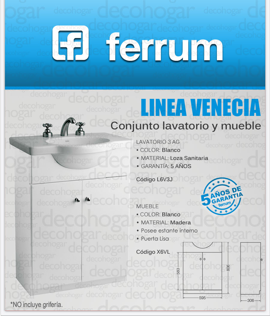 Vanitory con mueble ferrum venecia apoyo de 64 cent metros Vanitory ferrum precios