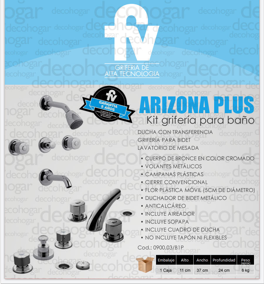 Kit De Griferia Para Baño:Grifería Fv Arizona Kit Combo Baño Ducha Lavatorio Bidet – $ 2567