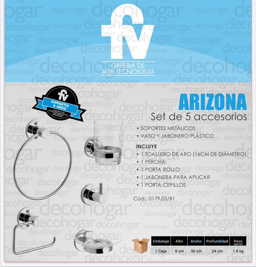 Griferia fv arizona set accesorios ba o 5 piezas metal for Set accesorios bano
