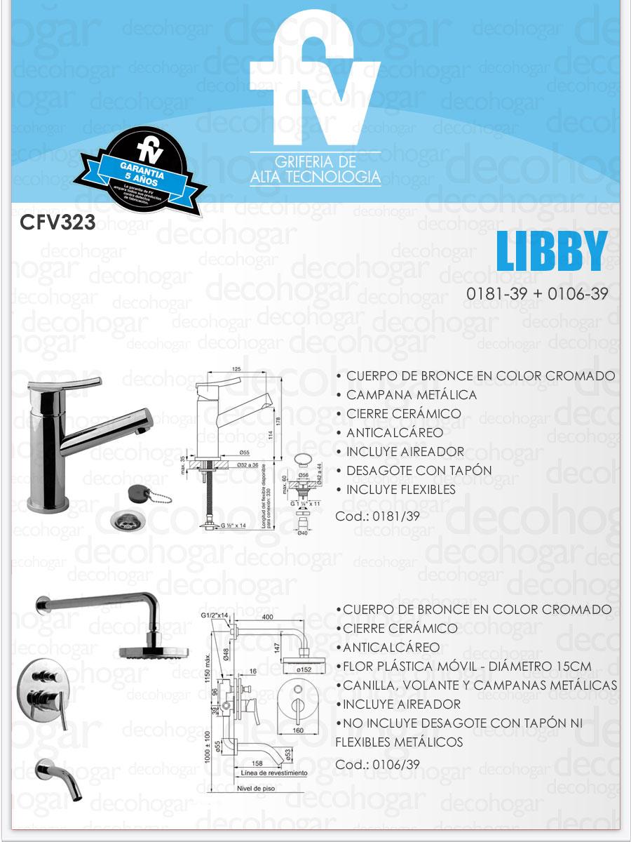 Griferia ba o completa juego fv libby cfv323 monocomando for Precio de juego de griferia para bano