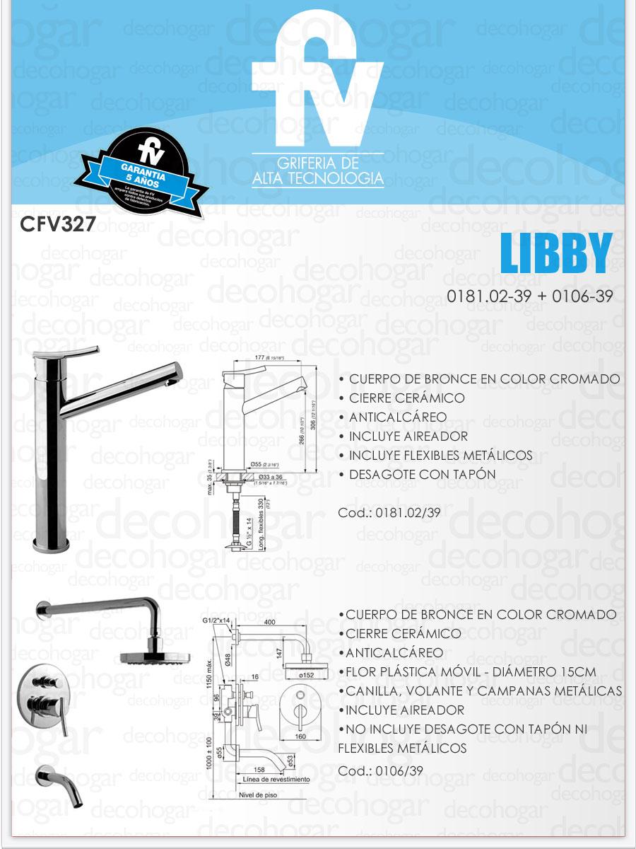 Griferia ba o completa juego fv libby cfv327 monocomando for Griferia completa para bano y cocina