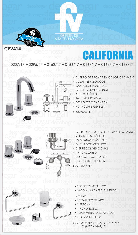 Griferia ba o completa juego fv california cfv414 cromada for Griferia completa para bano precios