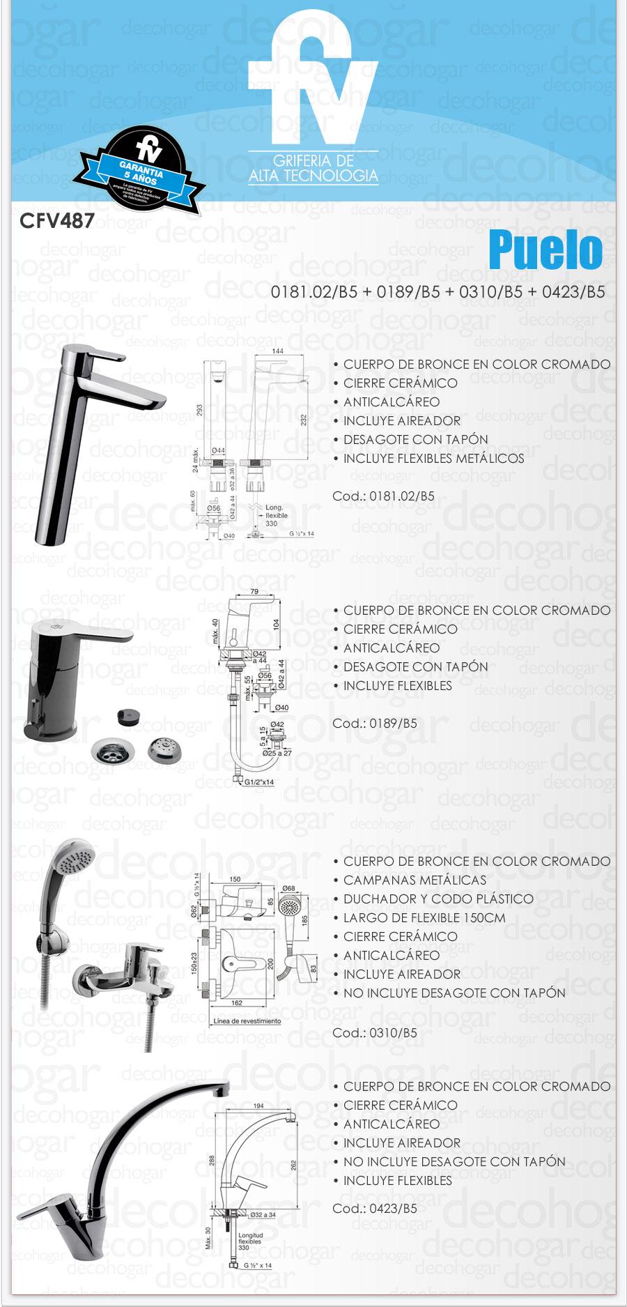 Griferia ba o fv puelo bidet lavatorio ducha cocina cfv487 for Griferia completa para bano y cocina