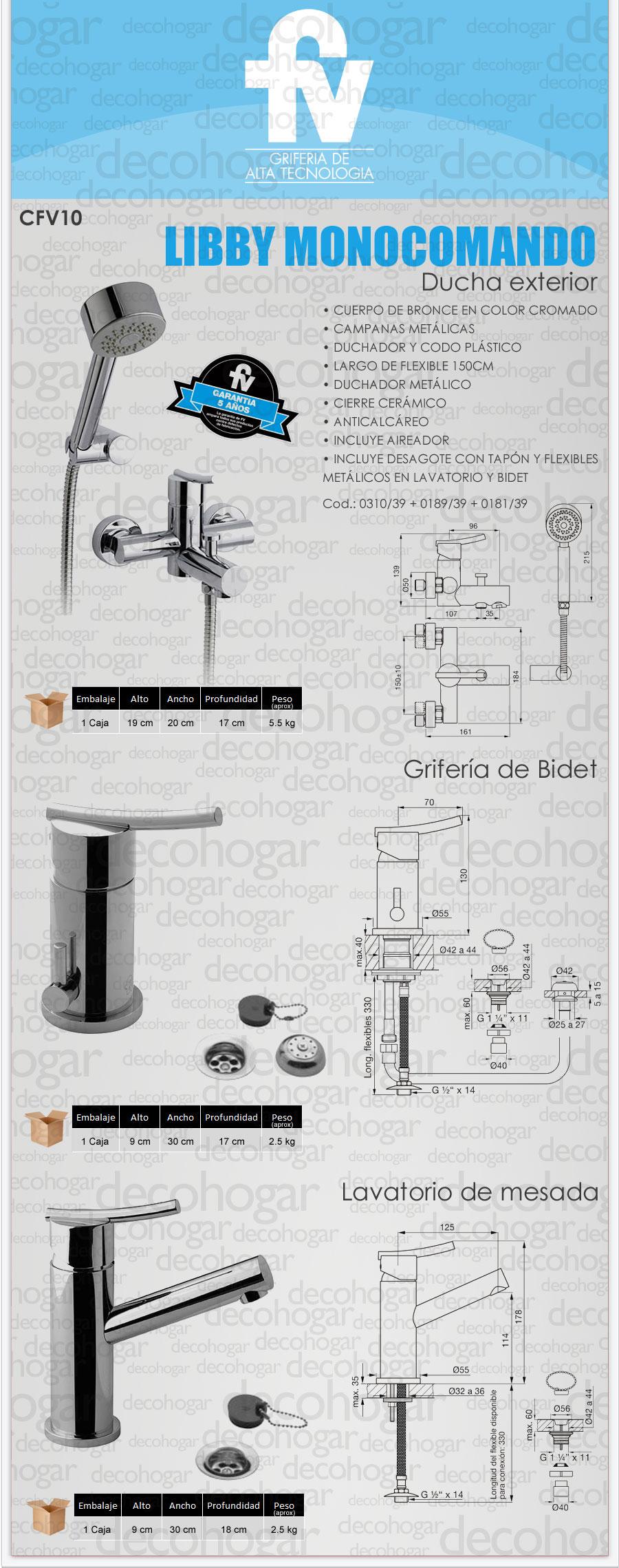 Grifer a fv libby monocomando ducha exterior lavatorio for Griferia de ducha fv precios
