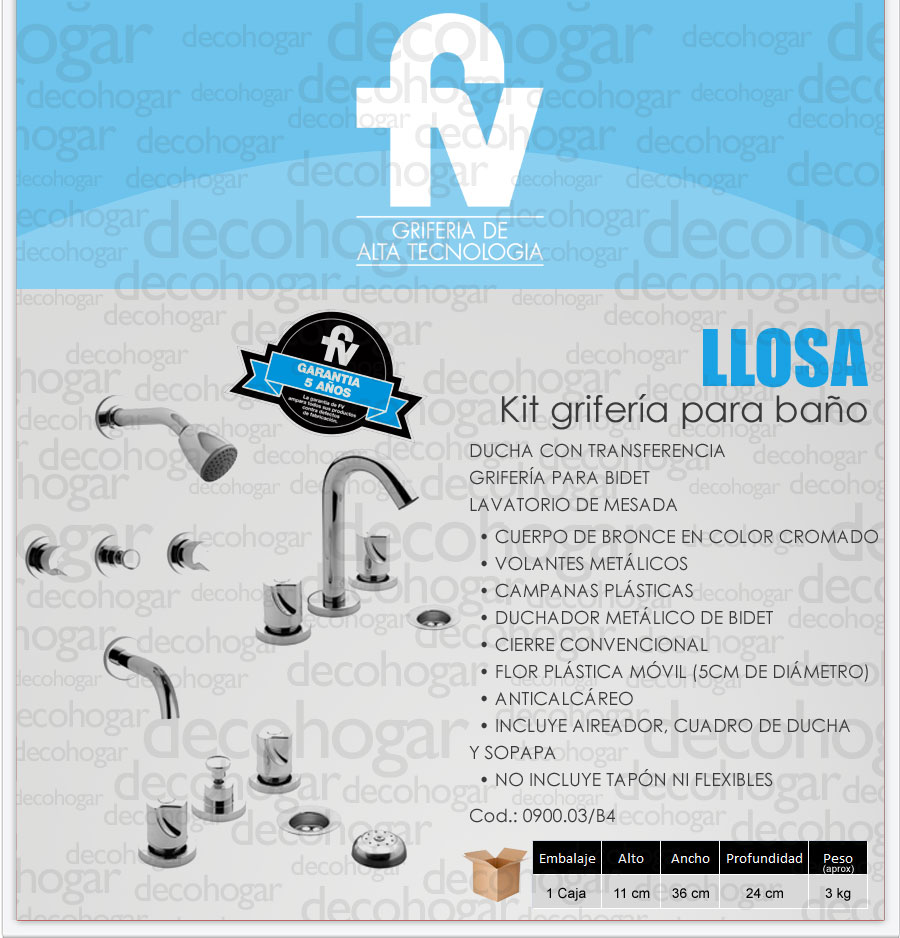 Grifer a fv llosa kit ba o ducha lavatorio bidet cromada for Griferia para lavatorio precios