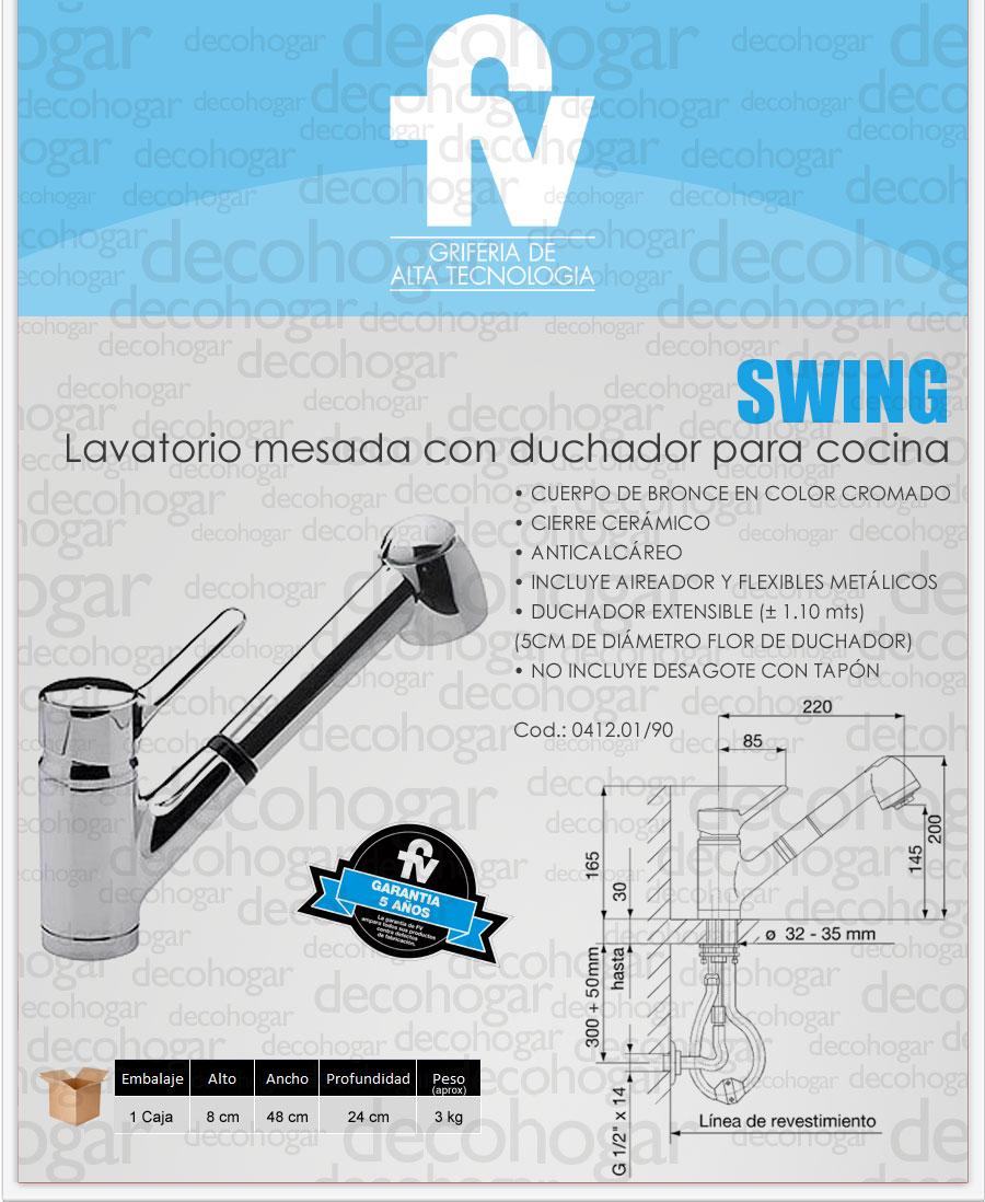 Griferia fv swing monocomando cocina duchador extensible for Sanitarios fv precios