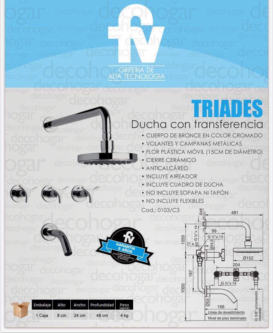 Grifer a fv triades ba era y ducha con transferencia 0103 for Griferia de ducha fv precios
