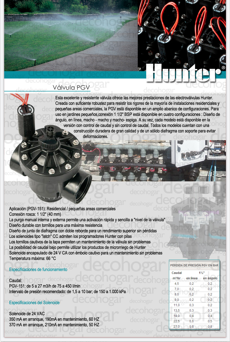 Valvula Hunter insumo de riego en DecoHogar