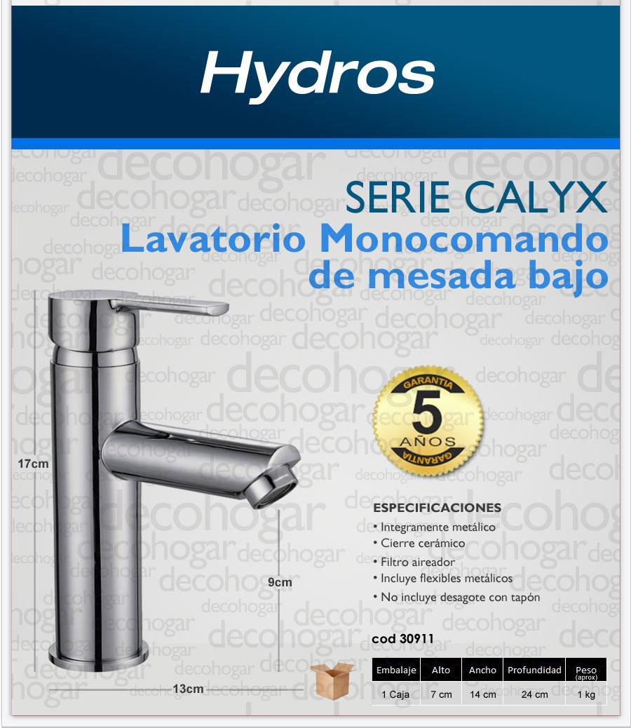 Grifer a lavatorio bajo para mesada ba o hydros calyx for Griferia para lavatorio bano