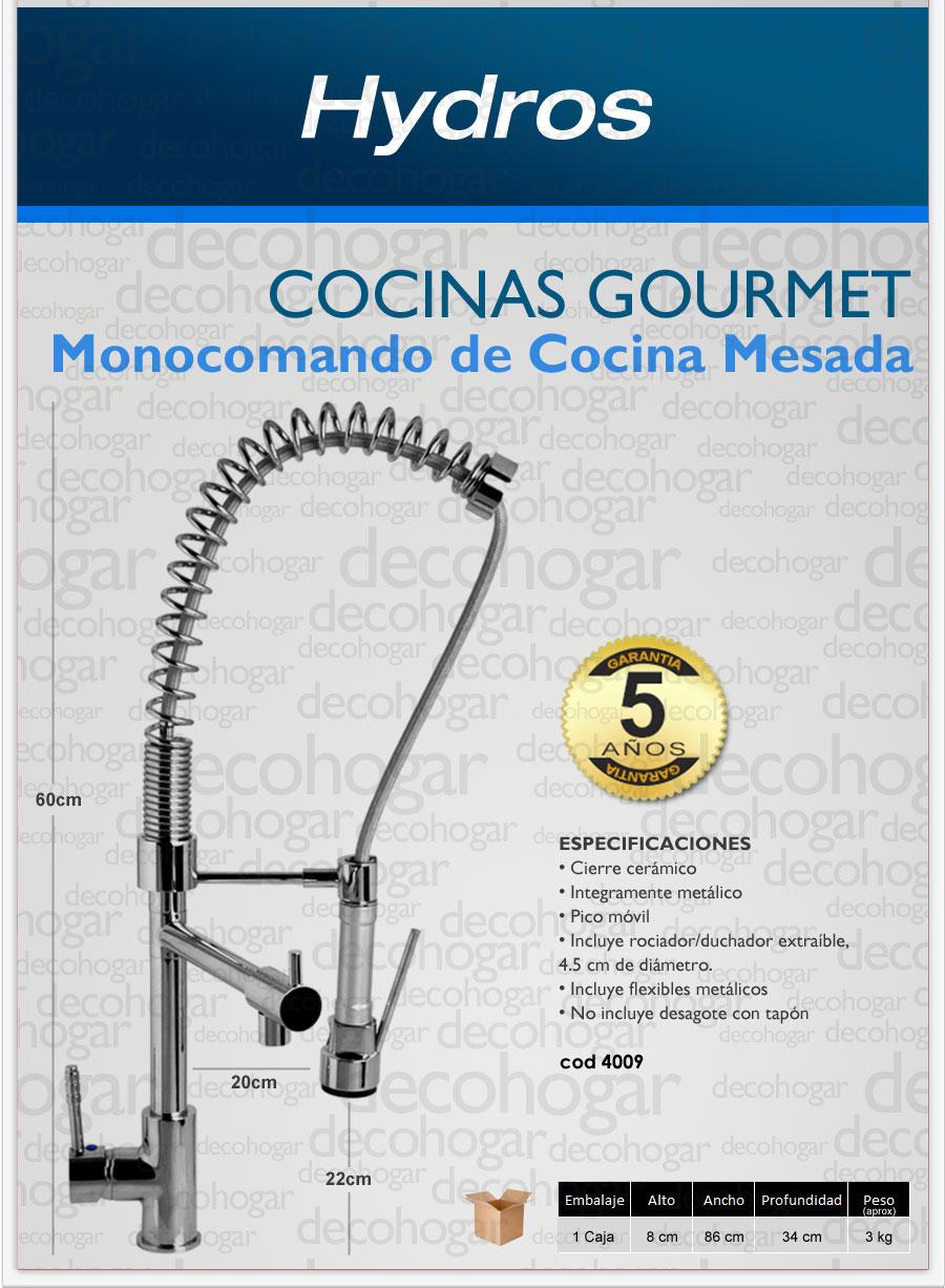 Griferia monocomando cocina mesada duchador hydros gourmet - Griferias de cocina ...