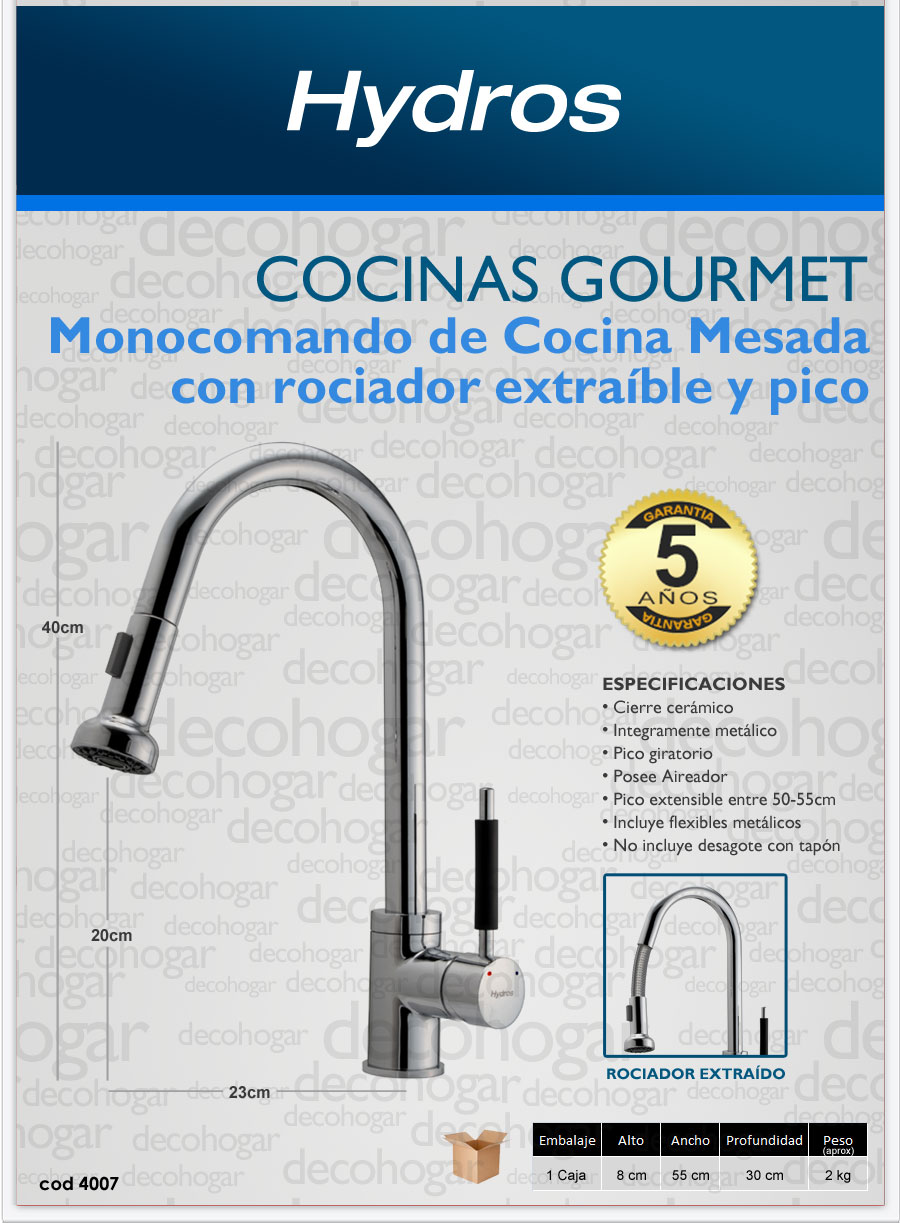Griferia monocomando cocina mesada duchador hydros gourmet for Griferia para cocina precios