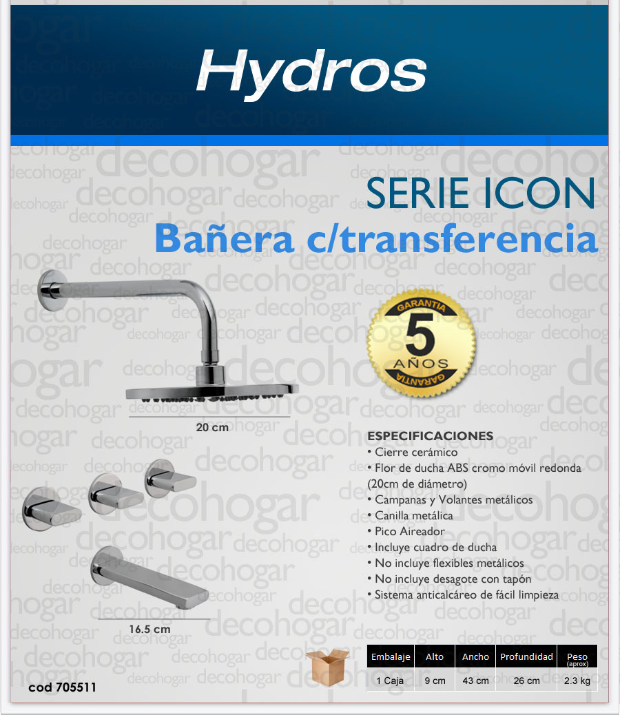 Griferia para BAÑERA CON TRANSFERENCIA serie ICON Hydros