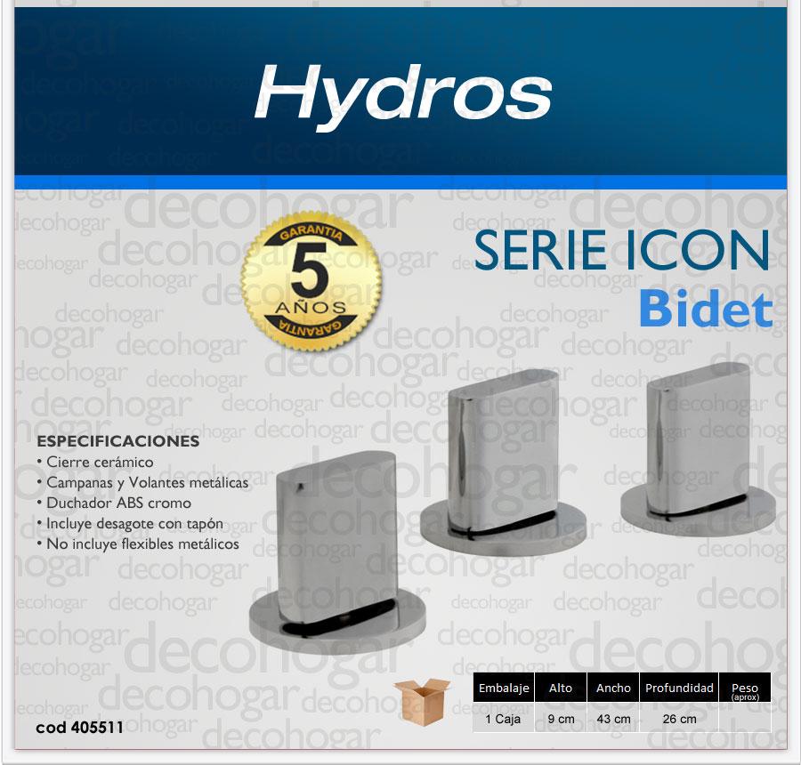 Grifer a bidet ba o hydros serie icon cromo 10 a os for Griferia para bidet