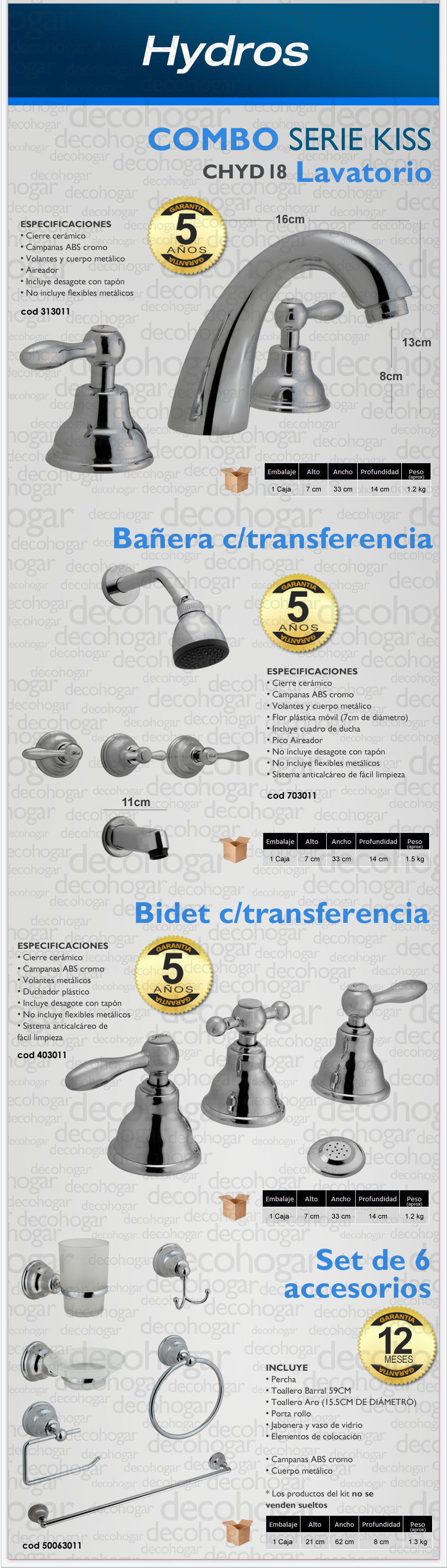 Combo griferia serie Kiss Hydros