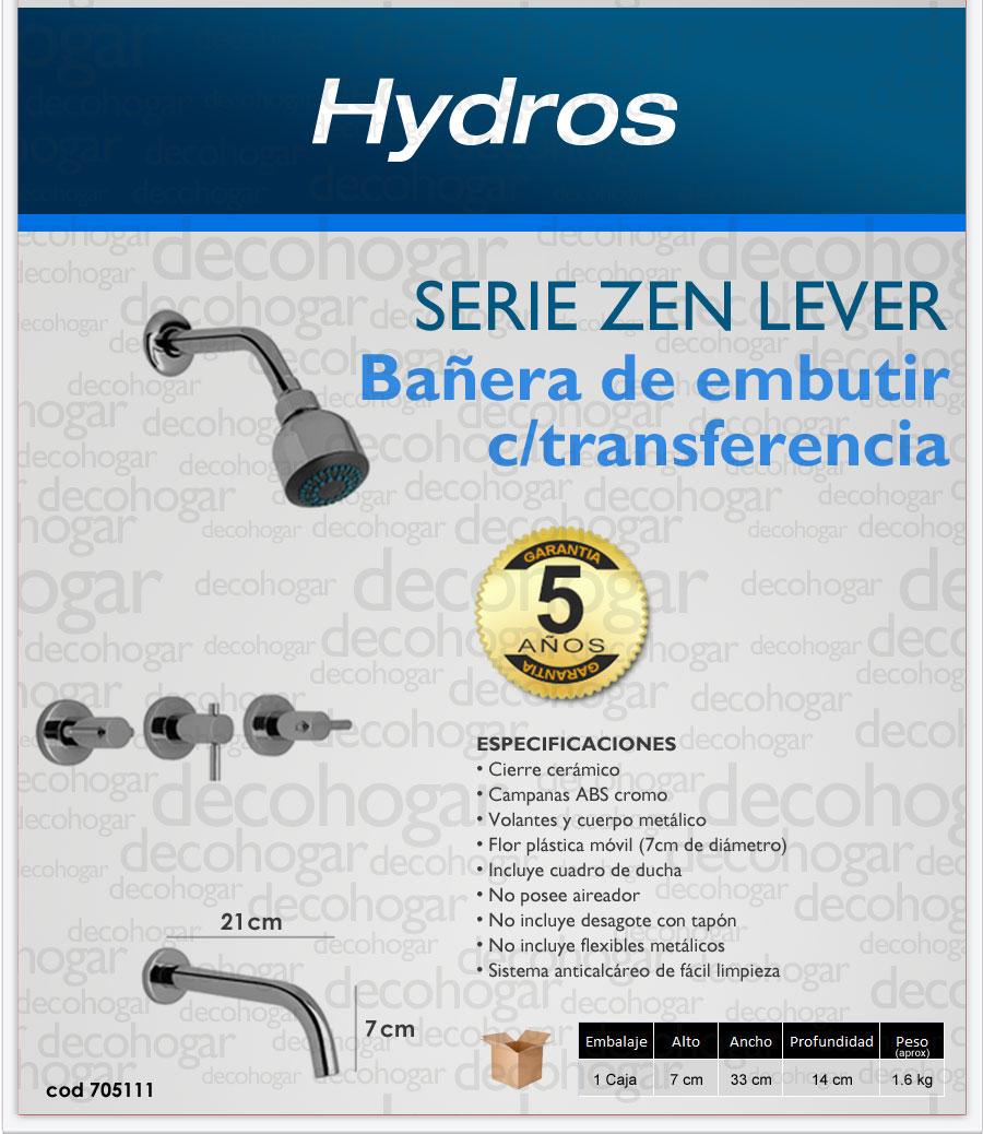 griferia bañera con transferencia serie ZEN LEVER Hydros