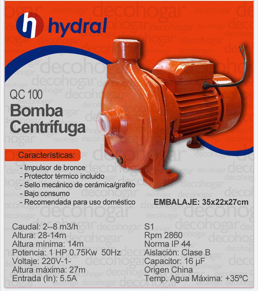 Bomba hydral centrifuga agua qc100 1 hp protector termico - Bombas de agua electricas precios ...