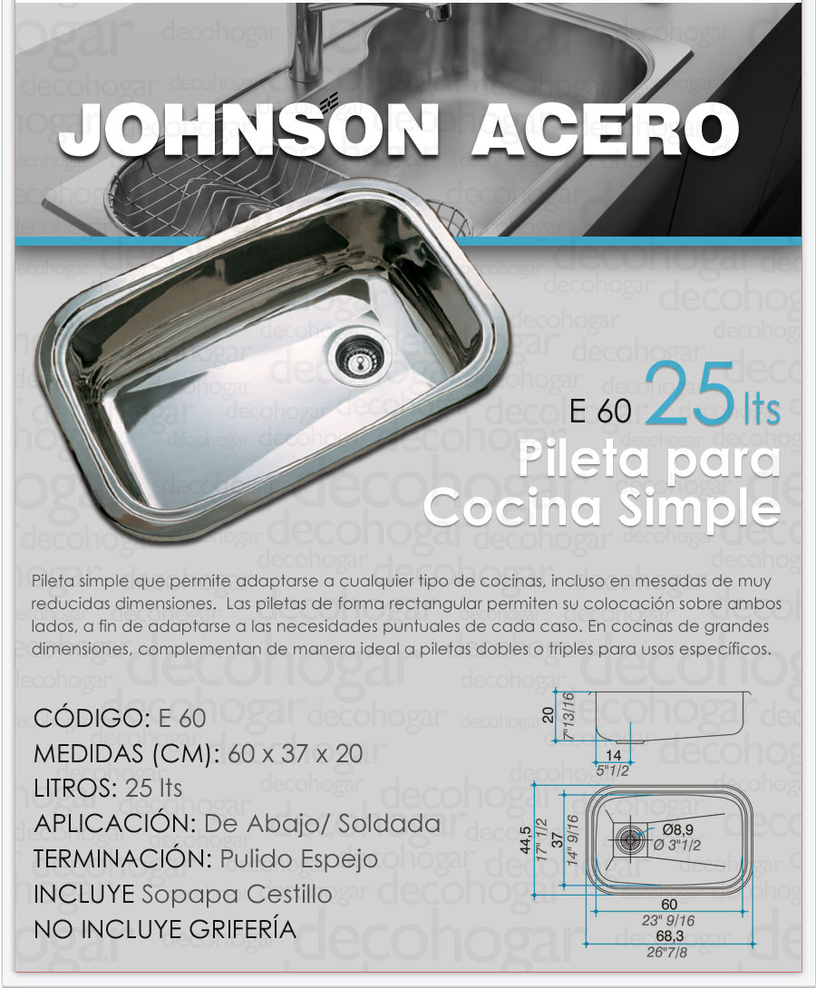 Bacha simple cocina pileta johnson acero inoxidable e60 25 for Bachas de cocina johnson