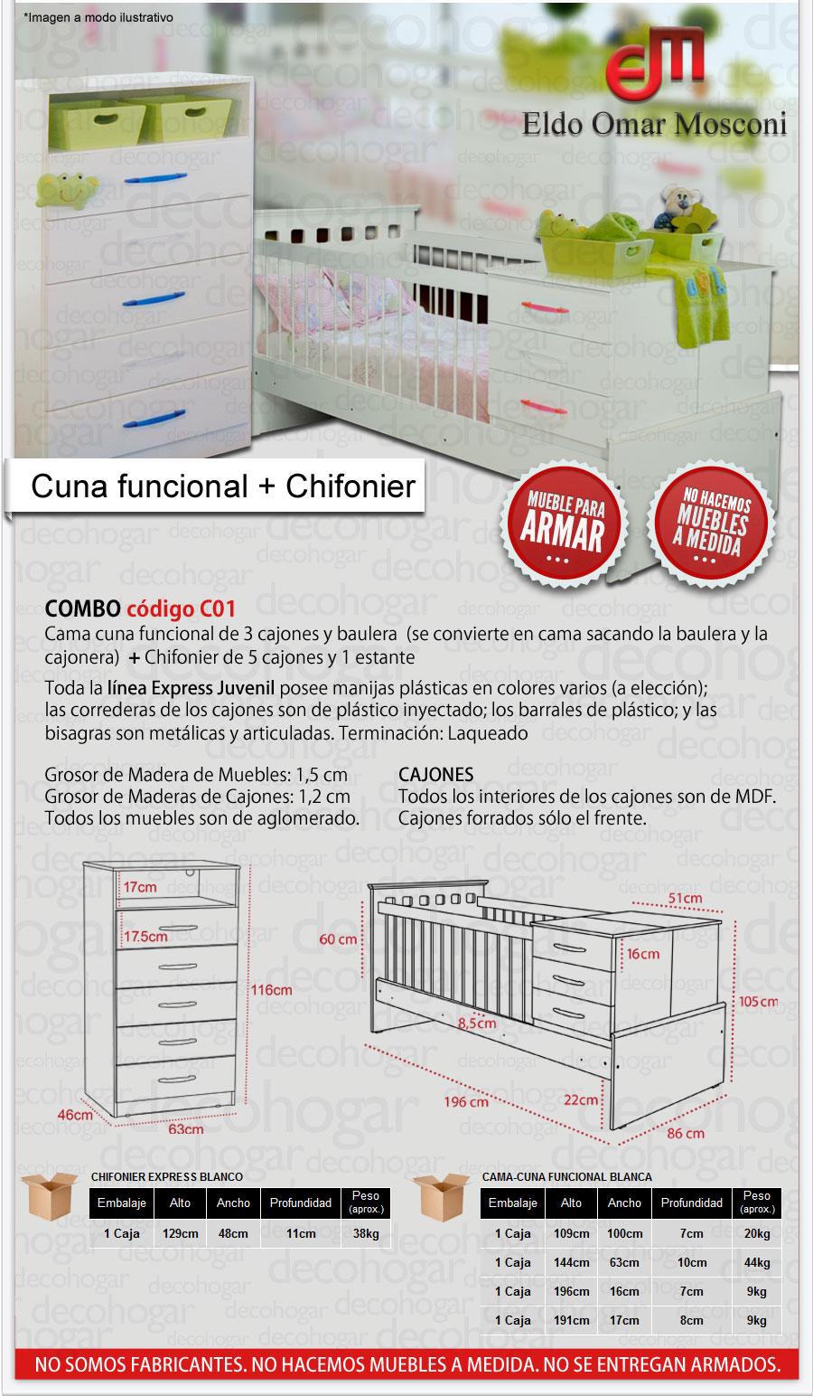 CUNA FUNCIONAL Y CHIFONIER 5 CAJONES