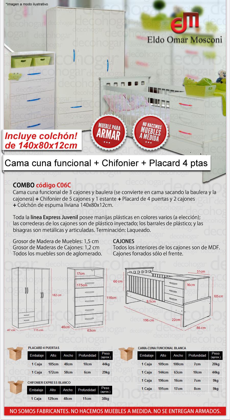 CUNA FUNCIONAL CON COLCHON CHIFONIER Y PLACARD MOSCONI