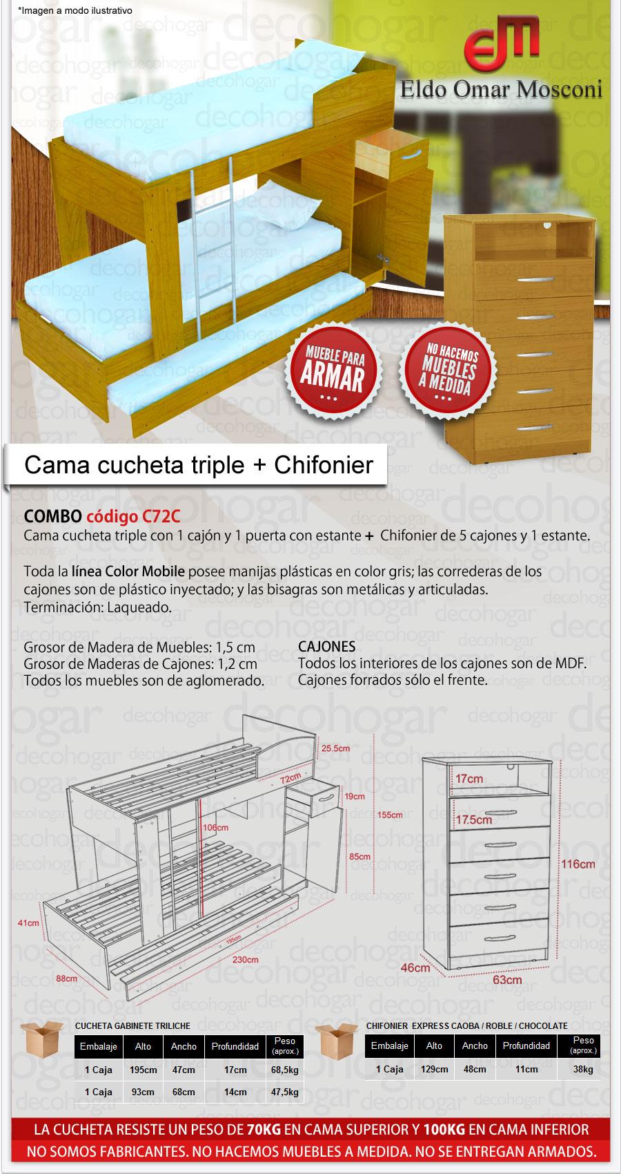 CAMA CUCHETA + CHIFONIER MOSCONI