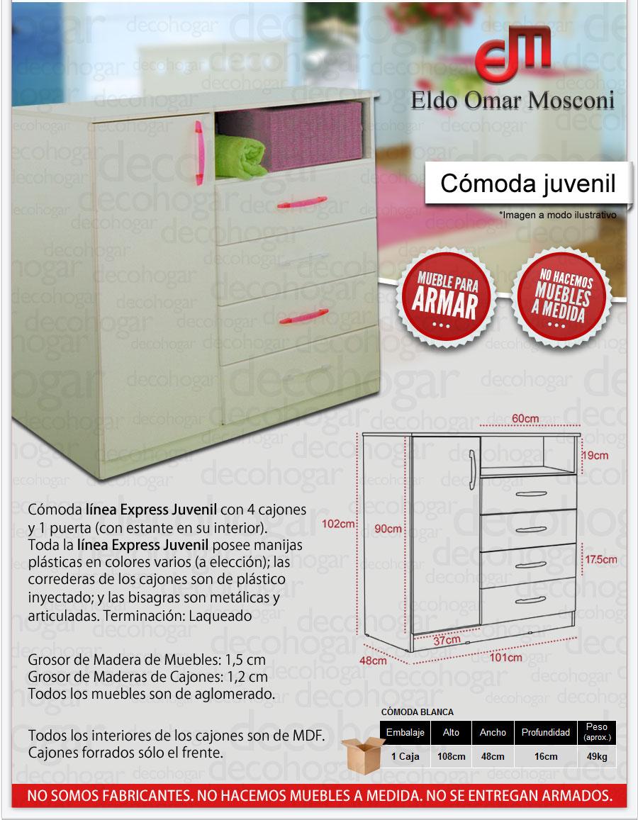 COMODA BLANCA 4 CAJONES 1 PUERTA MOSCONI