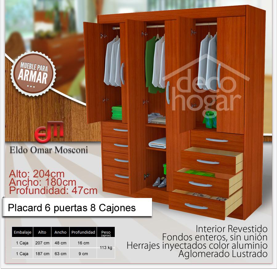Placard Lustrado Ropero 6 Puertas Y 8 Cajones Mosconi 368 Decohogar # Muebles Mosconi