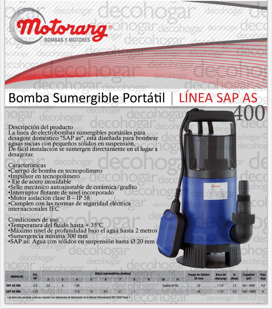 Bomba sumergible desagote agua sucia motorarg sap as 400 - Bomba de agua sucia ...
