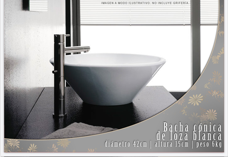Bachas Loza Para Baño:Bacha Apoyo Ceramica Loza Baño Conica Blanca A001