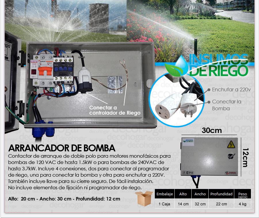 Arrancador de bomba para riego contactor arranque gabinete for Bomba para riego de jardin