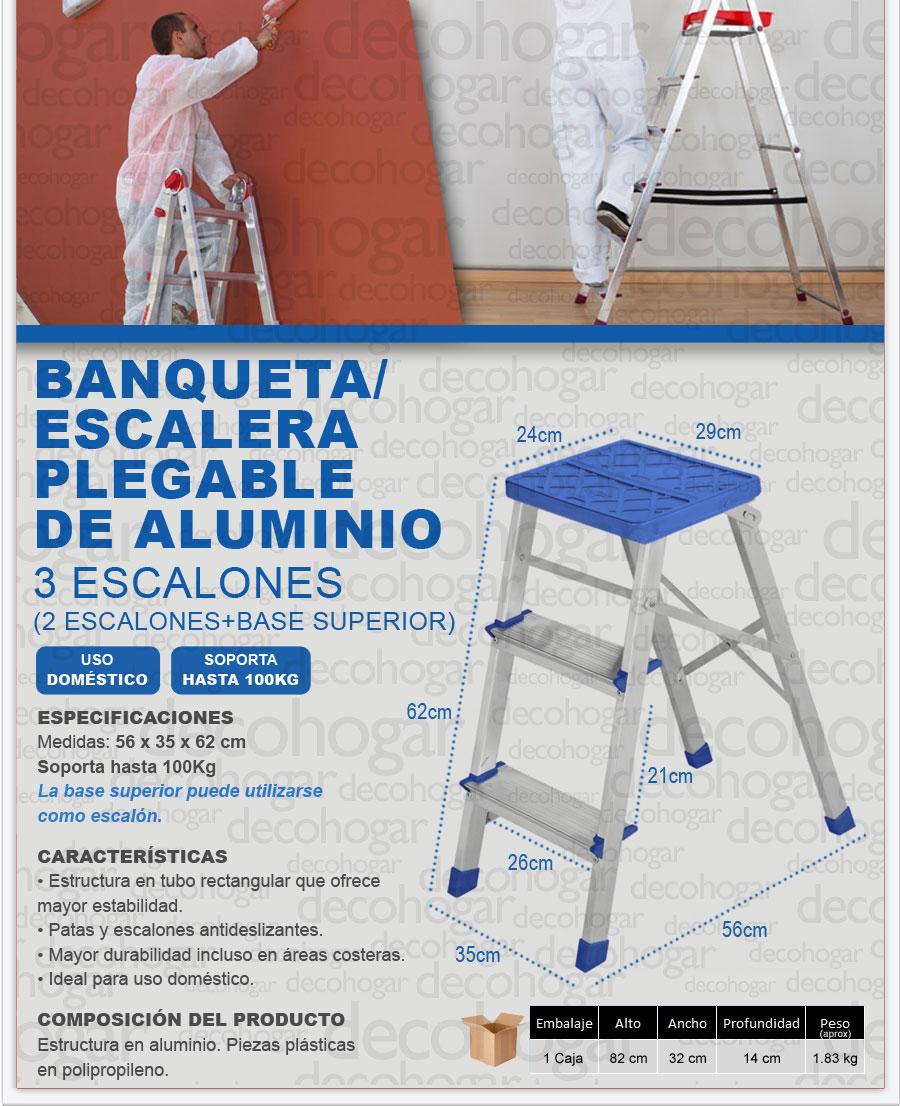 Escalera banqueta aluminio 0 62mts 3 escalones plegable for Escalera aluminio plegable