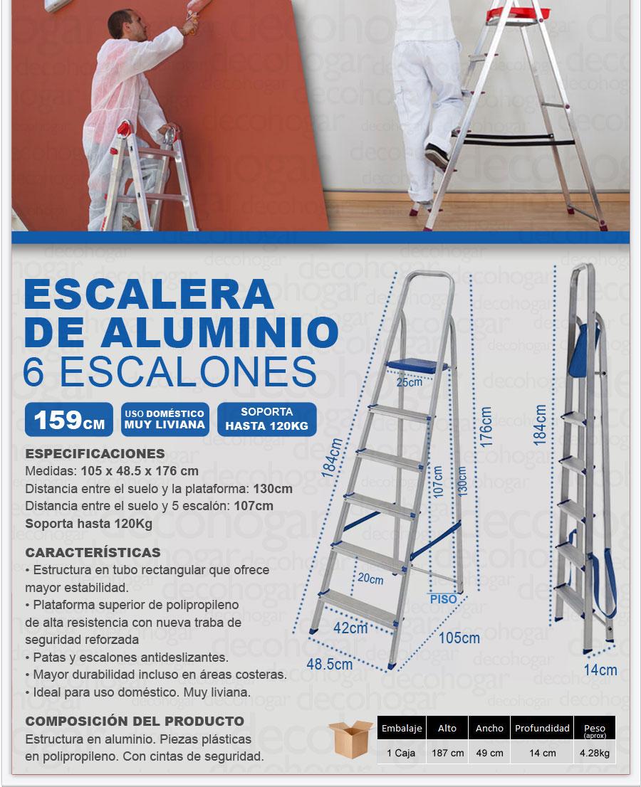 Escalera aluminio 1 59mts 6 escalones plegable c for Escaleras portatiles precios